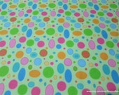 Flannel Fabric - Colorful Dots on Green - By the Yard - 100% Cotton Flannel