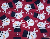 Christmas Flannel Fabric - Snowman Faces Tossed - By the yard - 100% Cotton Flannel