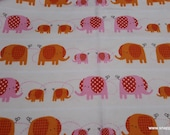 Flannel Fabric - Baby and Momma Elephants - By the yard - 100% Cotton Flannel