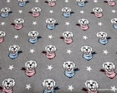 Flannel Fabric - Patriotic Dog Heads Luxe - By the yard - 70% Rayon, 30 Cotton Luxe Flannel Fabric