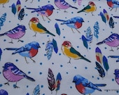 Flannel Fabric - Birds and Feathers  - By the yard - 100% Cotton Flannel