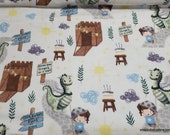Flannel Fabric - Boy and Dragon - By the yard - 100% Cotton Flannel