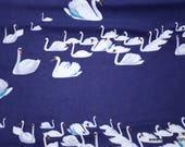 Flannel Fabric - Swans on Navy - By the yard - 100% Cotton Flannel