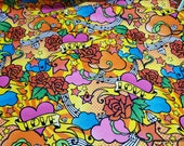 Flannel Fabric - Tattoo Bright - By the yard - 100% Cotton Flannel