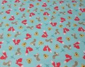 Flannel Fabric - Woodland Friends Tossed Teal - By the yard - 100% Cotton Flannel