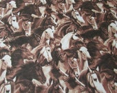 Flannel Fabric - Running Horses Brown - By the yard - 100% Cotton Flannel