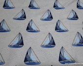 Flannel Fabric - Sailboat Navy on Gray Luxe - By the yard - 70% Rayon, 30 Cotton Luxe Flannel Fabric