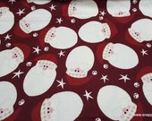 Christmas Flannel Fabric - Santa Faces Tossed - By the yard - 100% Cotton Flannel