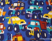 Flannel Fabric - Multi Color Monster Trucks - By the yard - 100% Cotton Flannel