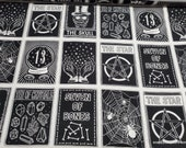 Flannel Fabric - Tarot Card Linear - By the yard - 100% Cotton Flannel
