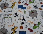 Flannel Fabric - Dubberly Dogs on White - By the yard - 100% Cotton Flannel