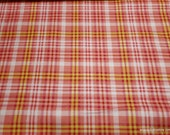 Flannel Fabric - Coral Multi Plaid - By the Yard - 100% Cotton Flannel