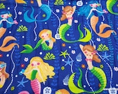 Flannel Fabric - Pearls and Mermaids - By the yard - 100% Cotton Flannel