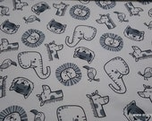 Flannel Fabric - Sweet Safari Tossed Animals on White - By the yard - 100% Cotton Flannel