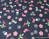 Flannel Fabric - Cherry Blossom Birds - By the yard - 100% Cotton Flannel