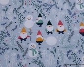 Christmas Flannel Fabric - Winter Gnomes - By the yard - 100% Cotton Flannel