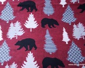 Flannel Fabric - Black Bear on Red - By the yard - 100% Cotton Flannel