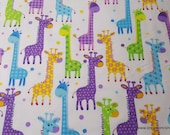 Flannel Fabric - Giraffes on White - By the yard - 100% Cotton Flannel