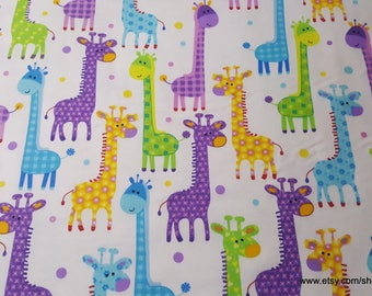 bc86c907236 Flannel Fabric - Giraffes on White - By the yard - 100% Cotton Flannel