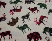 Flannel Fabric - Patterned Trap Wilderness Animals - By the yard - 100% Cotton Flannel