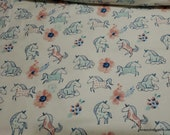 Flannel Fabric - Sweet Cloud Nine Horses - By the yard - 100% Cotton Flannel