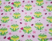 Flannel Fabric - Sitting Froggies Pink - By the yard - 100% Cotton Flannel