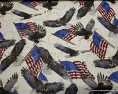 Flannel Fabric - Eagles and Flags - By the Yard - 100% Cotton Flannel