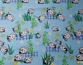 Flannel Fabric - Sheep over Fence- By the yard - 100% Cotton Flannel