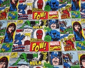 Character Flannel Fabric - Marvel Action All Around - By the yard - 100% Cotton Flannel