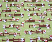 Flannel Fabric - Harmony Farm Sheep Dream Green - By the yard - 100% Cotton Flannel