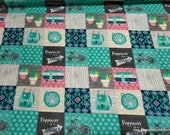 Flannel Fabric - Girl Adventure Patch - By the Yard - 100% Cotton Flannel