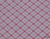 Flannel Fabric - Diagonal Plaid Pink - By the yard - 100% Cotton Flannel