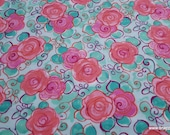 Flannel Fabric - Pink Floral - By the yard - 100% Cotton Flannel