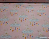 Flannel Fabric - Bunny Clouds Pink - By the yard - 100% Cotton Flannel