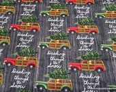 Christmas Flannel Fabric - Dashing Through the Snow Truck - By the Yard - 100% Cotton Flannel