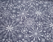 Christmas Flannel Fabric - Elegant Snowflakes on Gray - By the yard - 100% Cotton Flannel