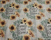 Flannel Fabric - Home Sweet Home Sunflower on Wood - By the yard - 100% Cotton Flannel