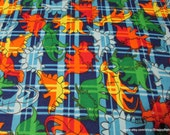Flannel Fabric - Dino Plaid - By the yard - 100% Cotton Flannel