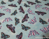 Flannel Fabric - Orchid Butterflies - By the Yard - 100% Cotton Flannel