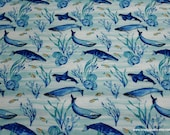 Flannel Fabric - Watercolor Blue Whales - By the yard - 100% Cotton Flannel