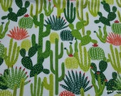 Flannel Fabric - Cactus Toss - By the yard - 100% Cotton Flannel