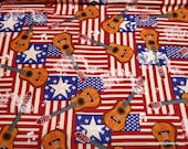 Flannel Fabric - Americana Music - By the yard - 100% Cotton Flannel