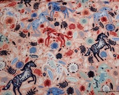 Flannel Fabric - Packed Floral Horses - By the yard - 100% Cotton Flannel