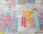 Flannel Fabric - Magic Castles and Unicorns - By the yard - 100% Cotton Flannel