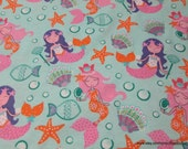 Flannel Fabric - Pretty Mermaids - By the yard - 100% Cotton Flannel