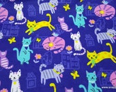Flannel Fabric - Purple Cat Fun - By the yard - 100% Cotton Flannel