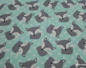 Flannel Fabric - Tossed Fox Mint - By the yard - 100% Cotton Flannel
