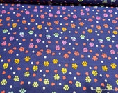 Flannel Fabric - Ombre Paws and Hearts Navy - By the yard - 100% Cotton Flannel