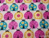 Flannel Fabric - Ladybugs Multi - By the Yard - 100% Cotton Flannel