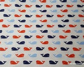 Flannel Fabric - Nautical Whales - By the Yard - 100% Cotton Flannel
